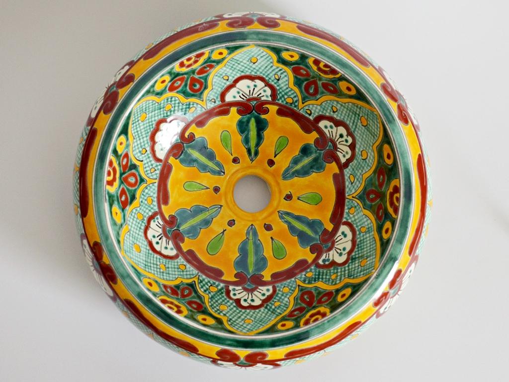 Ethno-Stil Aufsatzwaschbecken VERANO VERDE aus Mexiko, handbemalt!Ethno-Stil Aufsatzwaschbecken VERANO VERDE aus Mexiko, handbemalt!