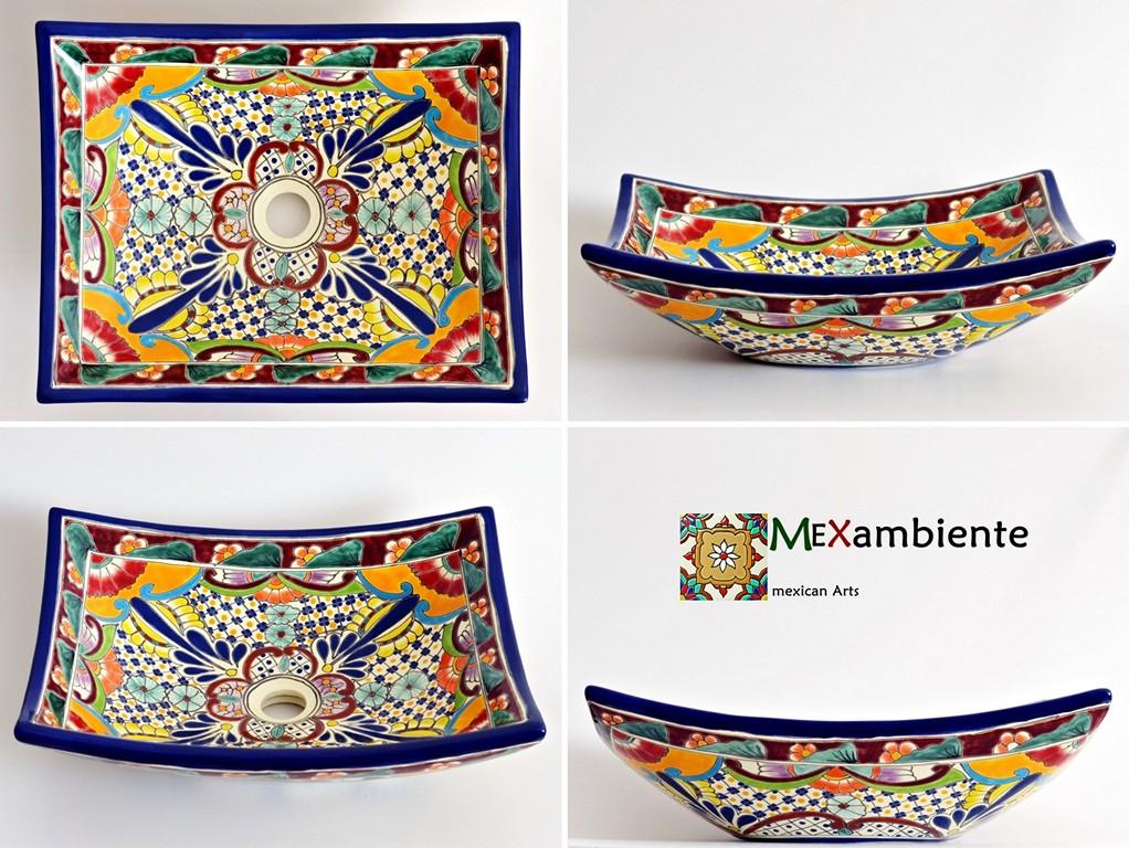 Bunter mexikanischer Waschtisch eckig FRIDA - MEX1