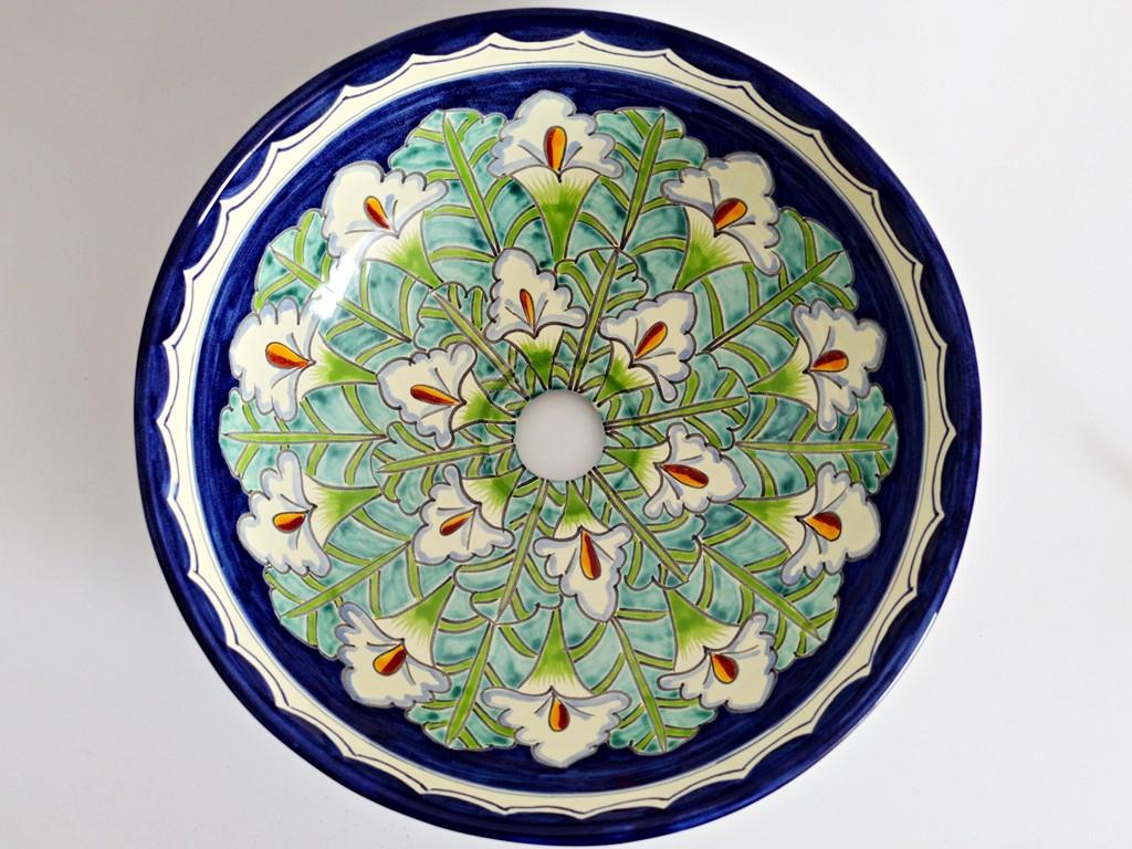 Mexikanisches Aufsatzwaschbecken MEX3 - 39 cm - Motiv Callas