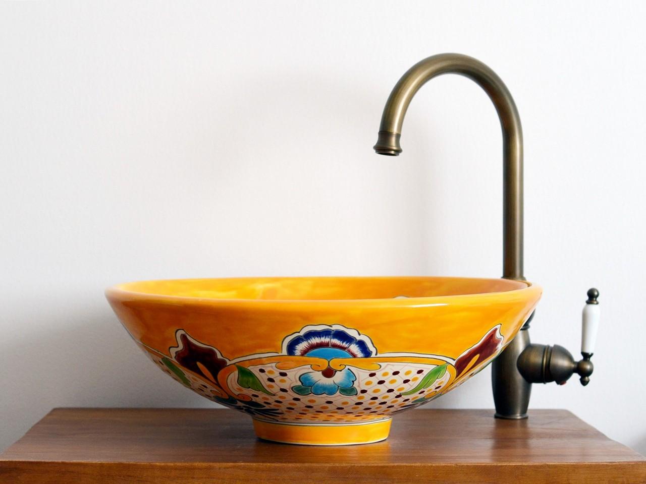 Großes Design-Aufsatzwaschbecken MEX5 Puebla - 44 cm - handbemalt