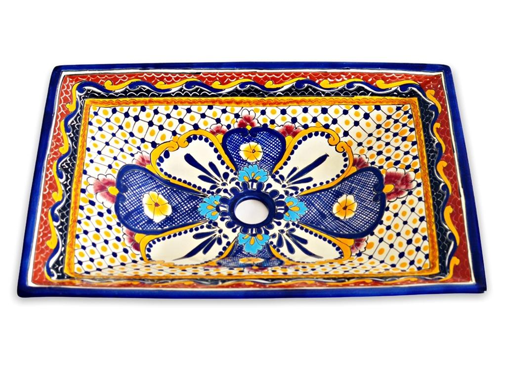 Mexikanisches Aufsatzwaschbecken rechteckig - MAYA
