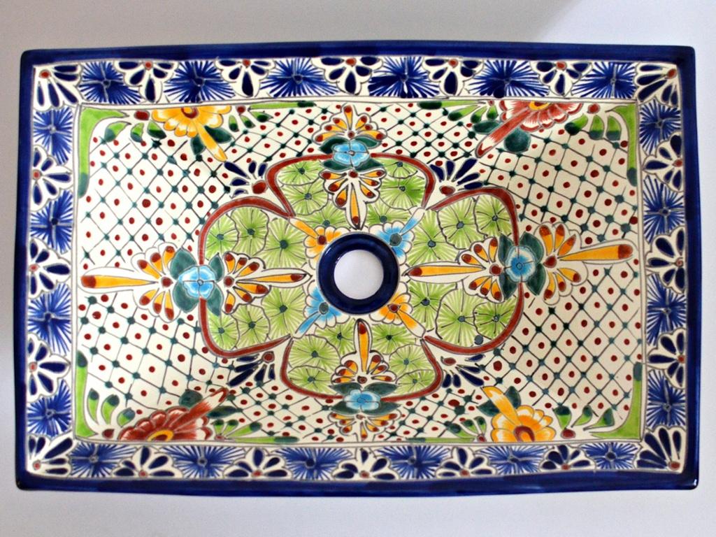 Rechteckiges Design Aufsatzwaschbecken aus Mexiko MEX6 - Aventura