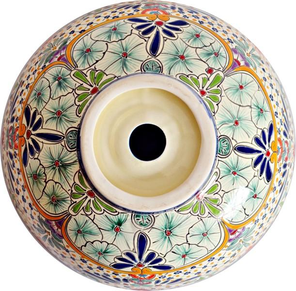 Wunderschönes Aufsatzwaschbecken CARIBE, Kunstwerk aus Mexiko - 39 cm (mex3)