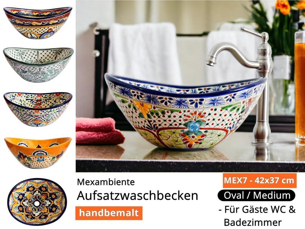 mex7 oval mexambiente mexikanische waschbecken bunte. Black Bedroom Furniture Sets. Home Design Ideas