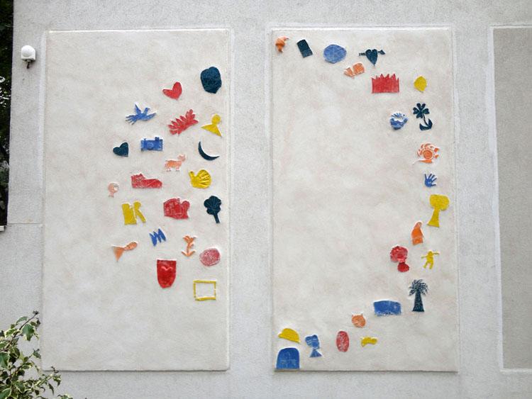 Fresque Oeuvre ensemble #3 - Séance collage des pièces en grès - Juillet 2017