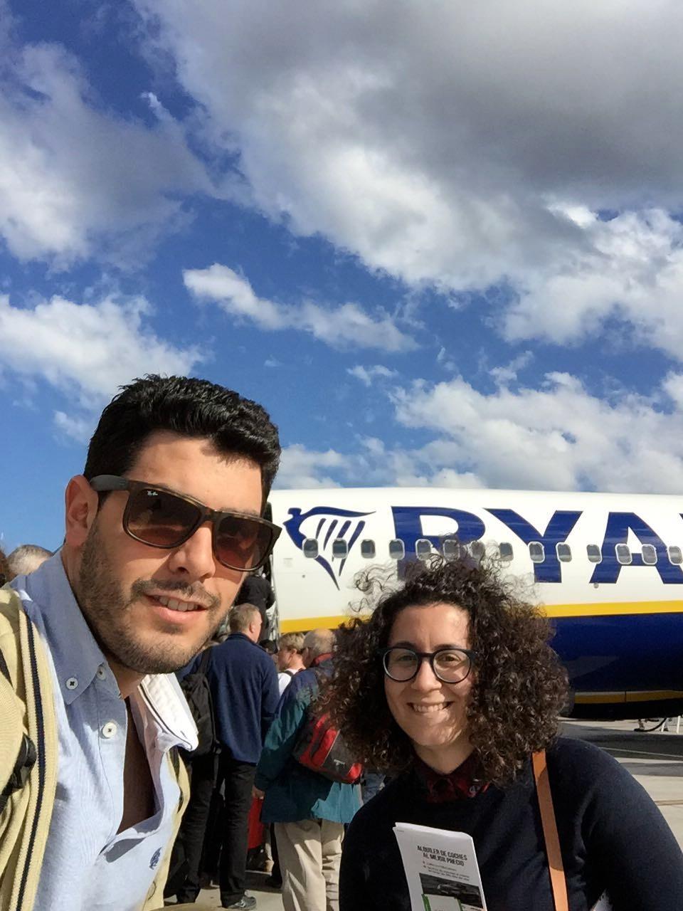 Tomando el avión