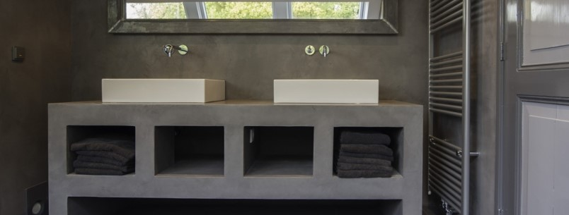 Beton Ciré auf Bademöbel #Interior #Wohnen #Style