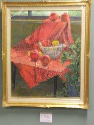 赤い布と静物 油彩30号