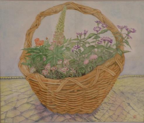花と籠  透明水彩10号