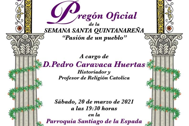 El próximo 20 de marzo, pregón de la Semana Santa 2021