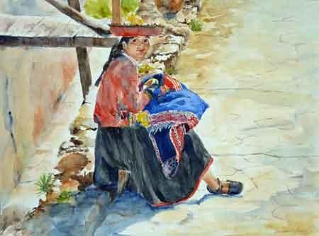 Carmen wartet, 40x50cm,(c)D.Saul 2011,Peru-Mädchen