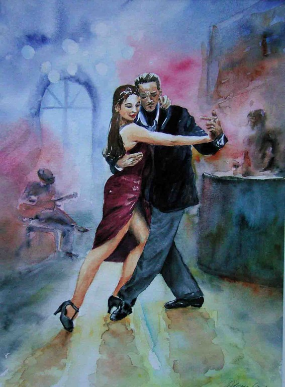 tango bar, 50x60cm,(c)D.Saul 2011,Tango-Bar-Argentinien