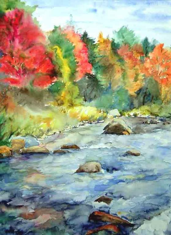 Herbstwasser 40x50cm  unverk.,(c)D.Saul 2011,Herbst-Fluss