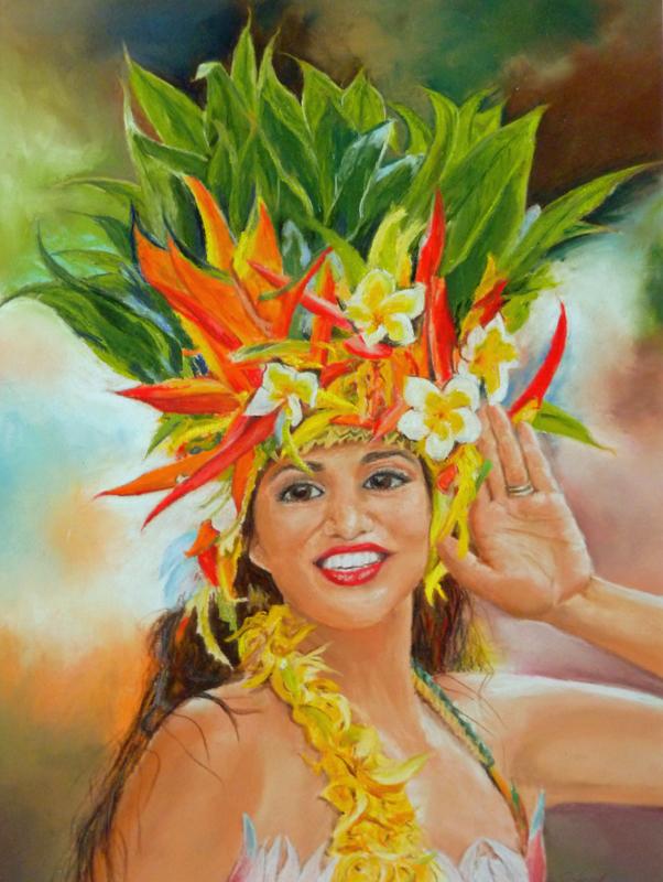 """Polynesian Beauty"" Pastell UART 400, 30x40cm,Ref. T. Manarau,(C) D.Saul 2016"