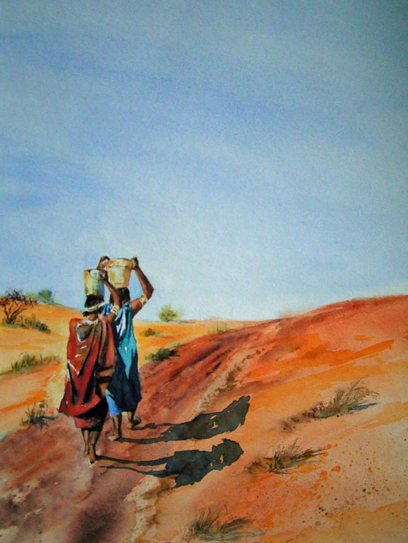 Weg der Xhosa, 40x50cm,(c)D.Saul 2011,Afrika-Frauen