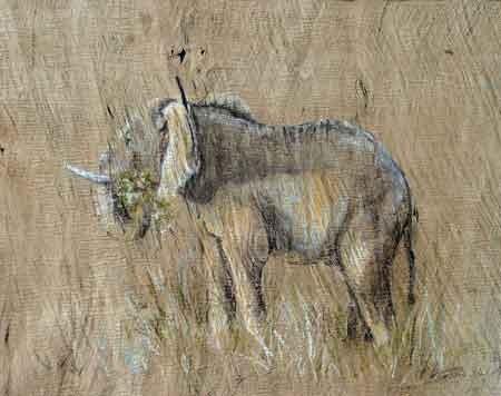 """""""Elefant aus Ruanda"""" Pastell auf Baumrinde 60x80cm,(c)D.Saul 2012"""