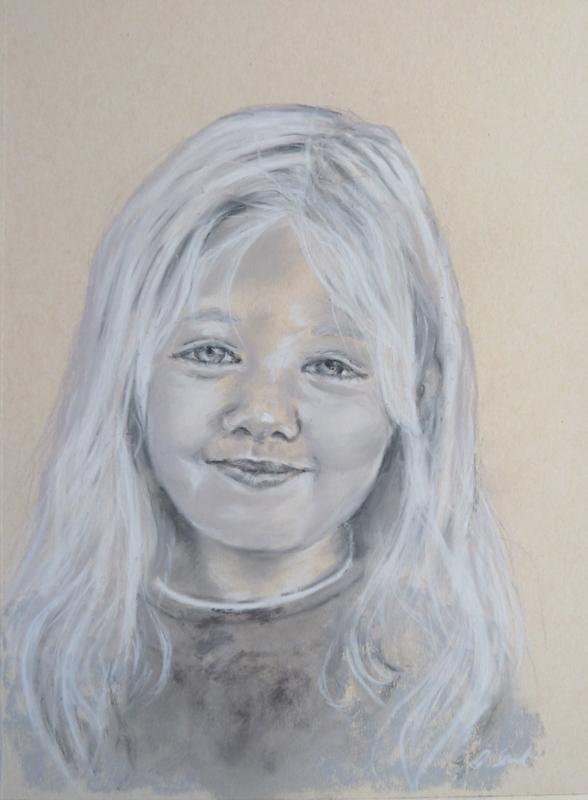 """Felicia"" Monochrome Pastell, 30x40cm,(C)D.Saul 2016"