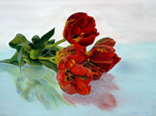 """Red parrot-tulips"" Pastell 29x39cm, (c) D.Saul 2014"