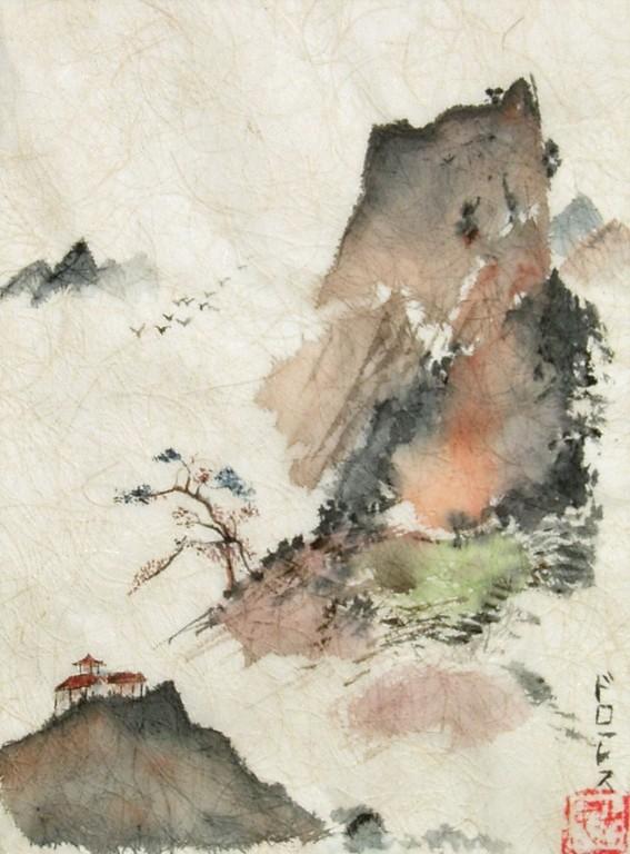 Am Fuss der Berge (Tusche Japanpapier) 50x60cm,(c)D.Saul 2011