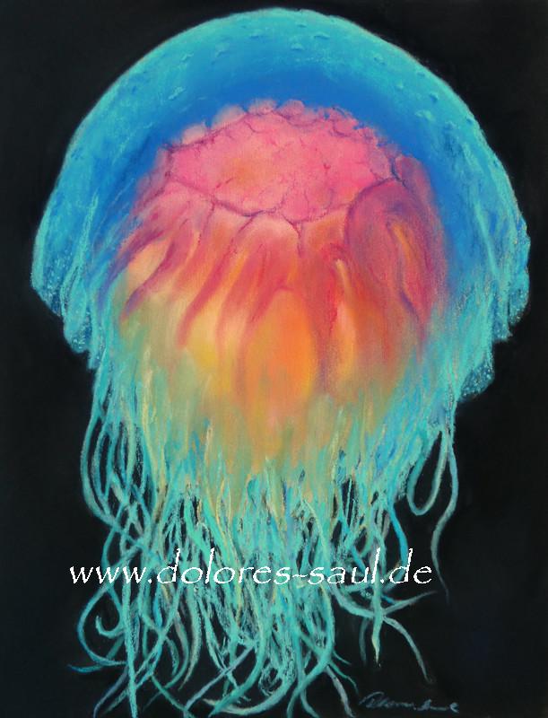 """Blue Meduse"" Pastell, 19x22cm (C)D.Saul 2016, Ref.Foto by Steve Jones , www.millionfish.com"