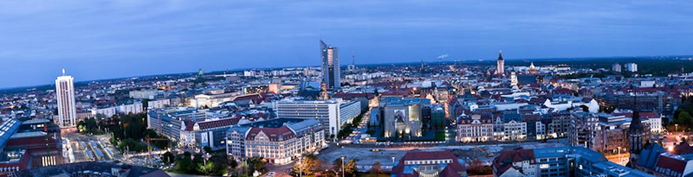 Leipzig am Abend mit Blick vom Hotel The Westin - © Dirk Brzoska - Fotograf aus Leipzig