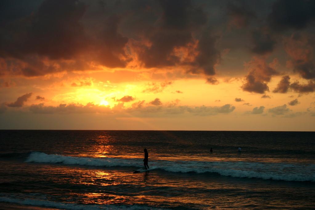 Caribbean surf sunsets