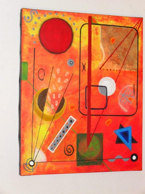univers k, vue côté, tableau abstrait