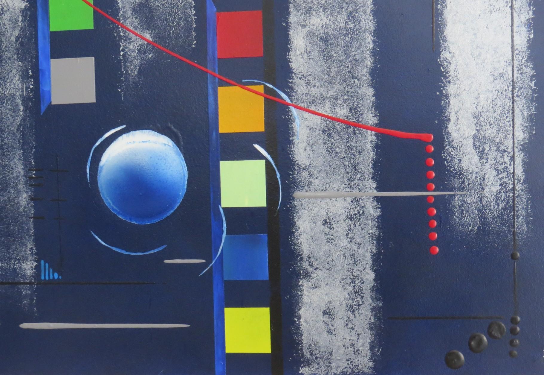 bleu d'argent vue zoom1 - daluz galego tableau abstrait abstraction