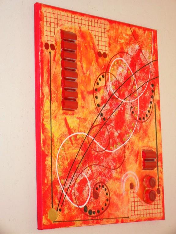 cylindres, vue côté, tableau abstrait. abstraction