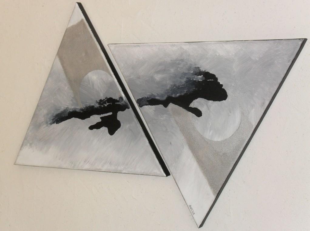 main tendue vue côté, tableau abstrait. abstraction