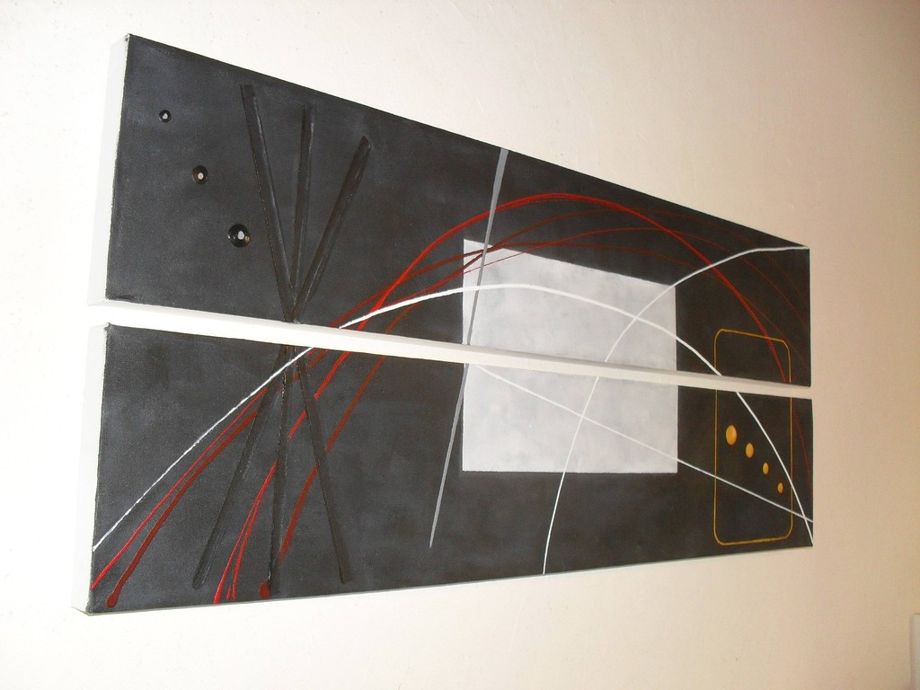 espace, vue côté, tableau abstrait. abstraction