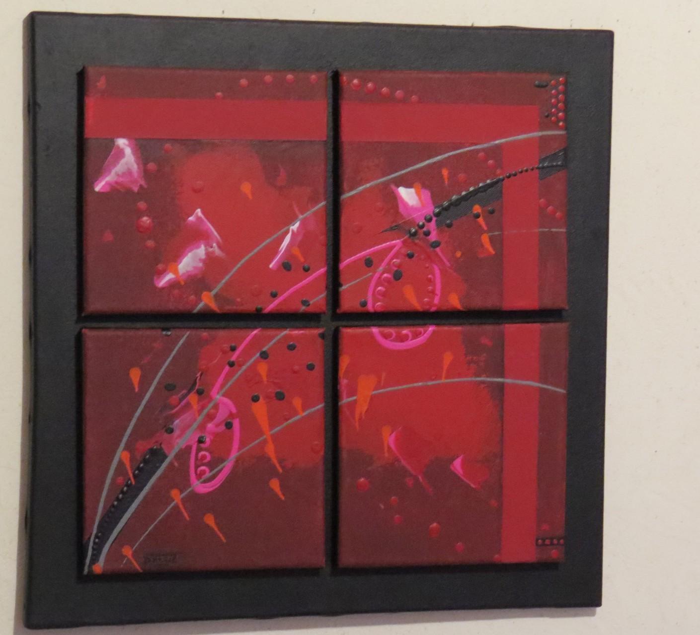carré d'arcs.vue côté1. tableau. abstrait. abstraction
