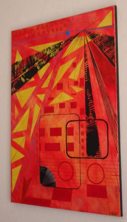 laser, vue côté. tableau. abstrait. abstraction