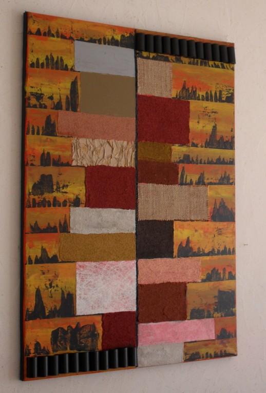 volumes, vue côté. tableau. abstrait. abstraction