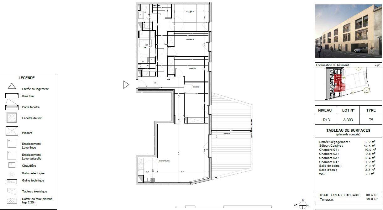 Appartement Neuf à Bordeaux - Plan d'un 5 pièces