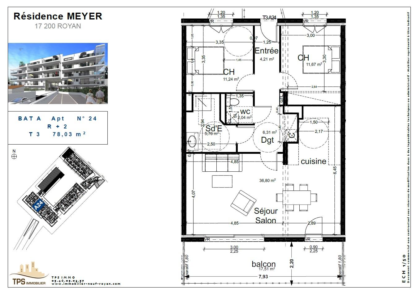 3 pièces de 78 m² avec balcon 17m²