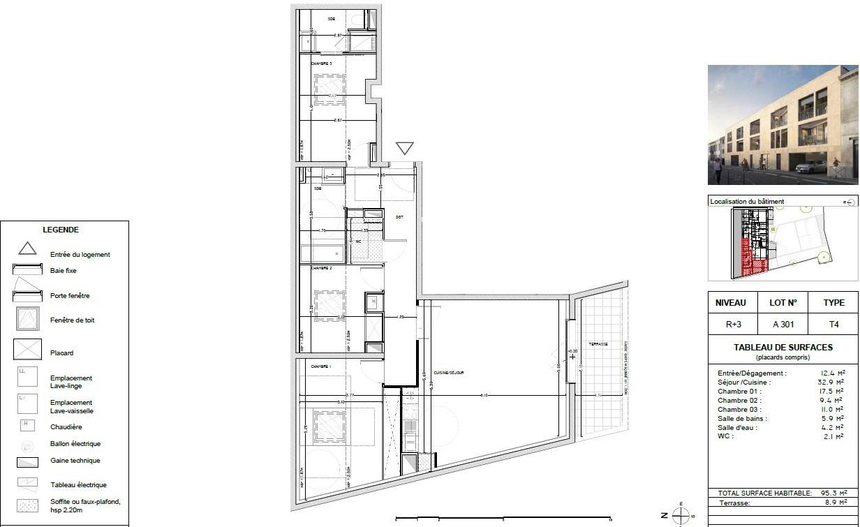 Appartement Neuf à Bordeaux - Plan d'un 4 pièces