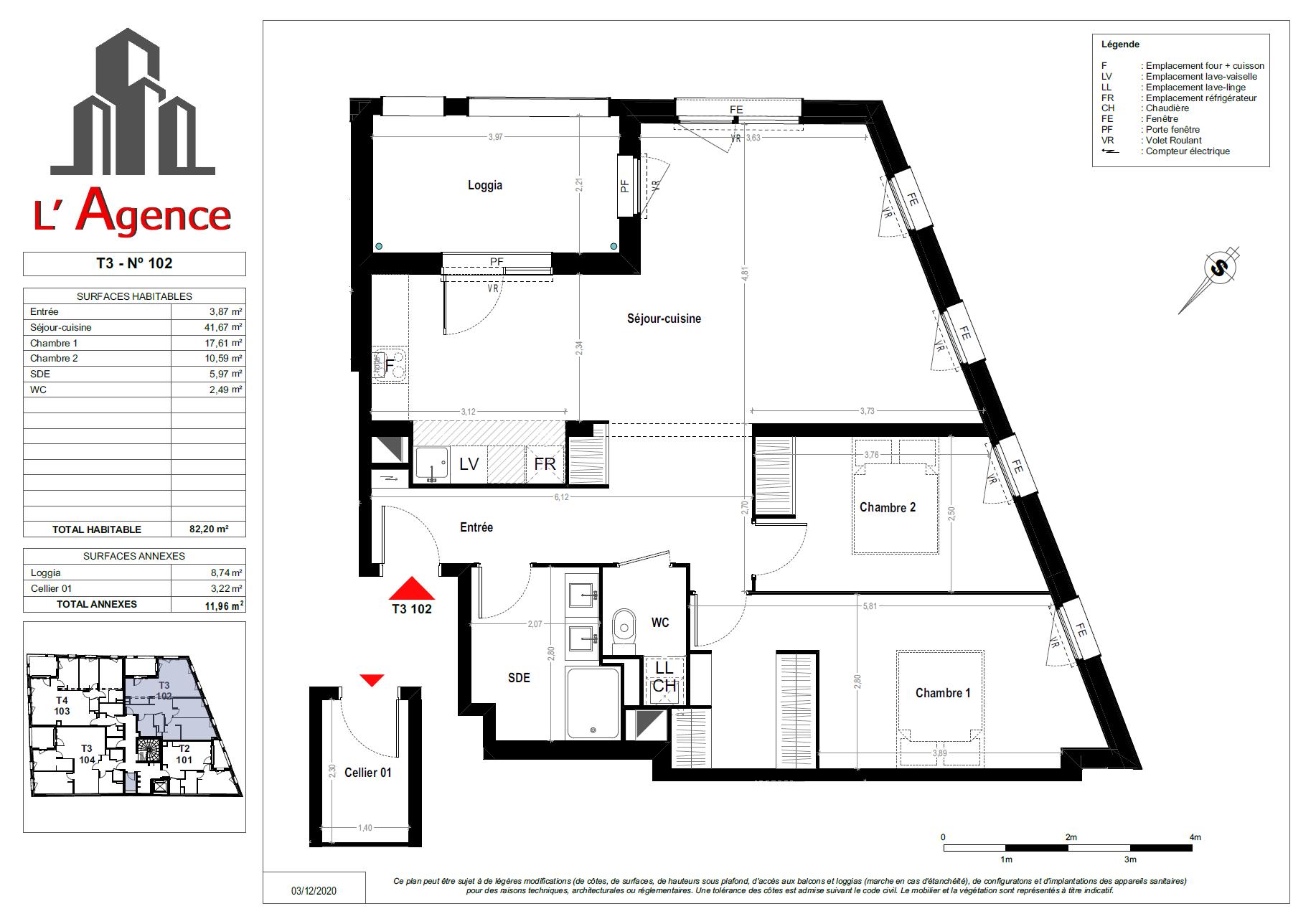 Plan d'un Appartement 3 pièces Neuf