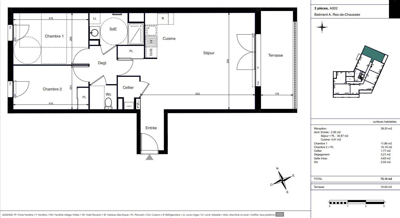 Appartement Neuf La Rochelle, plan d'un 3 pièces