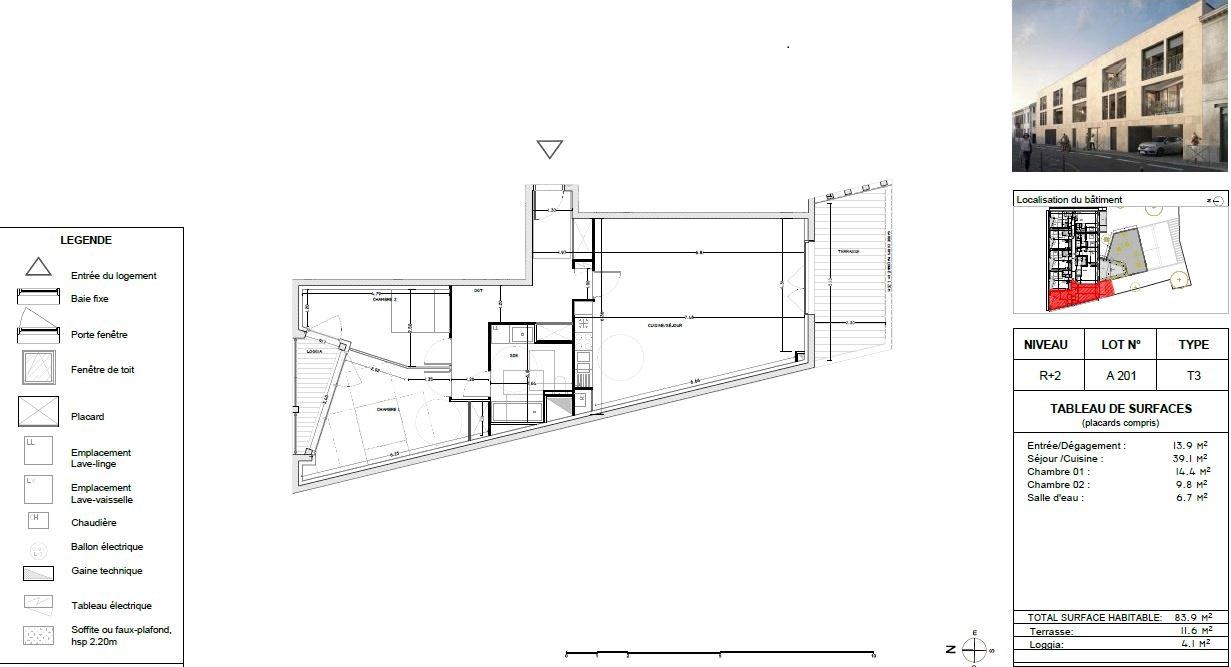 Appartement Neuf à Bordeaux - Plan d'un 3 pièces