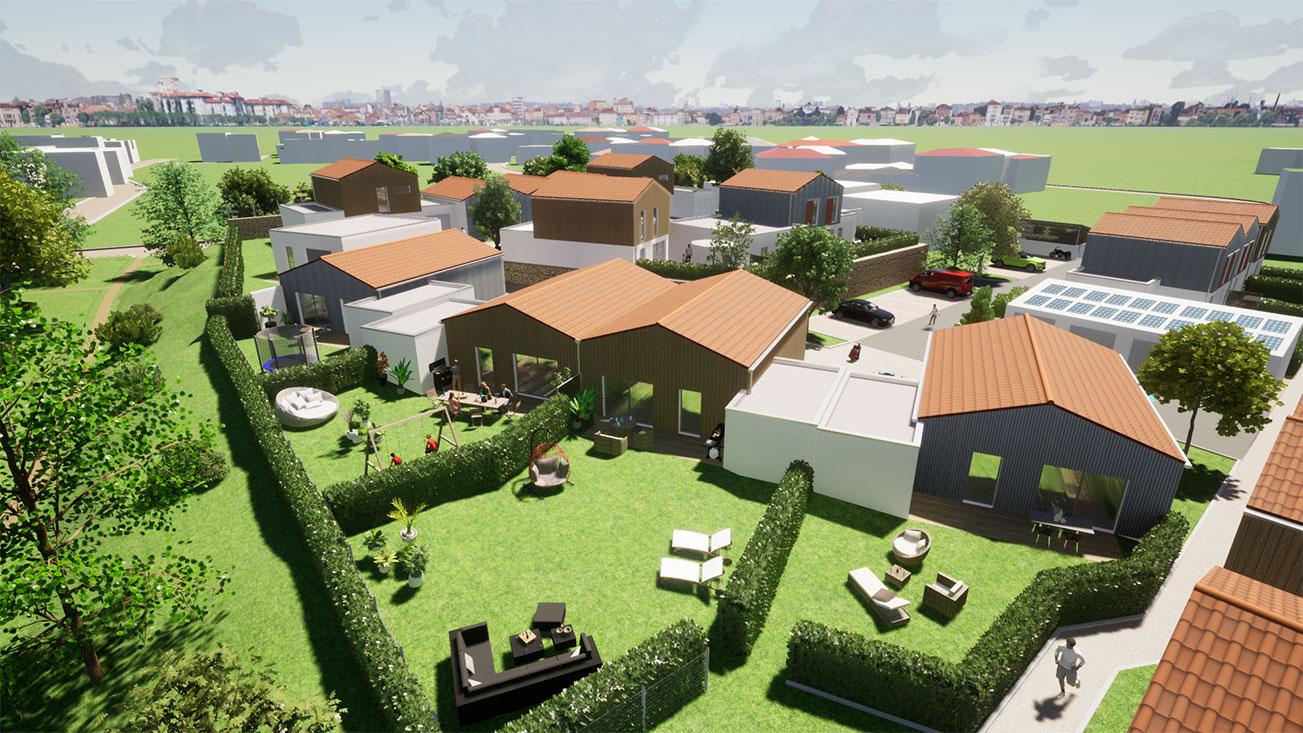 Vue en 3D des maisons neuves à Vaux Sur Mer