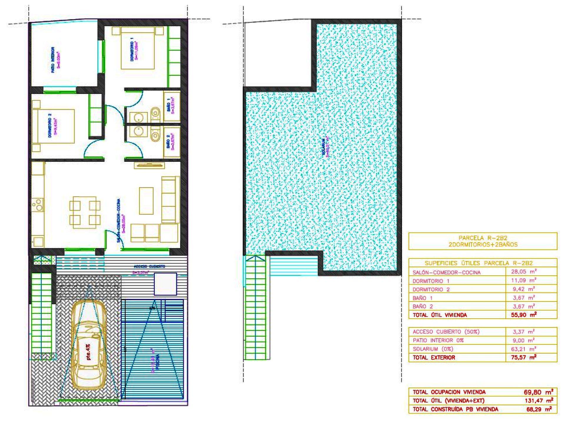 Plan de la villa T3 en ESPAGNE
