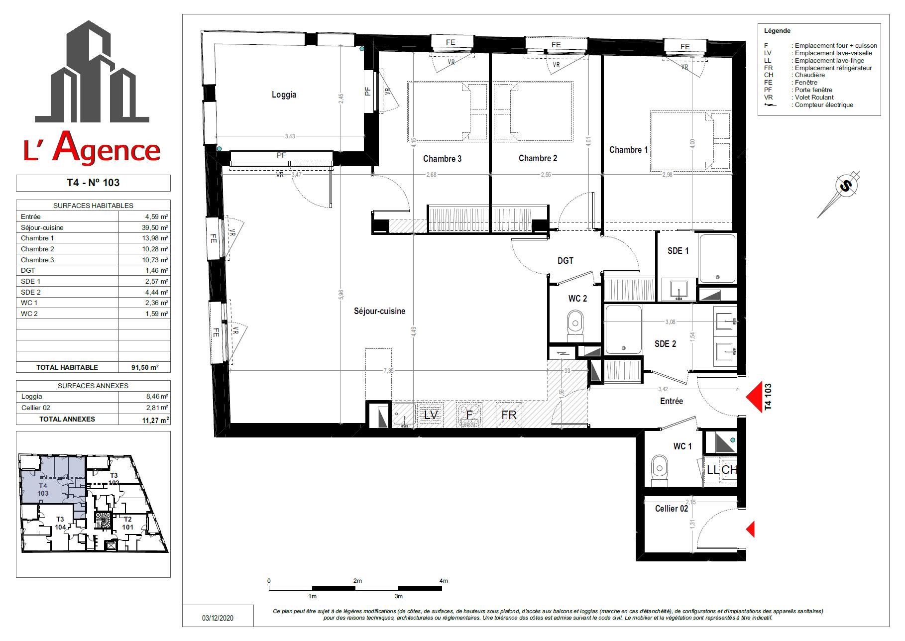 Plan d'un Appartement 4 pièces Neuf