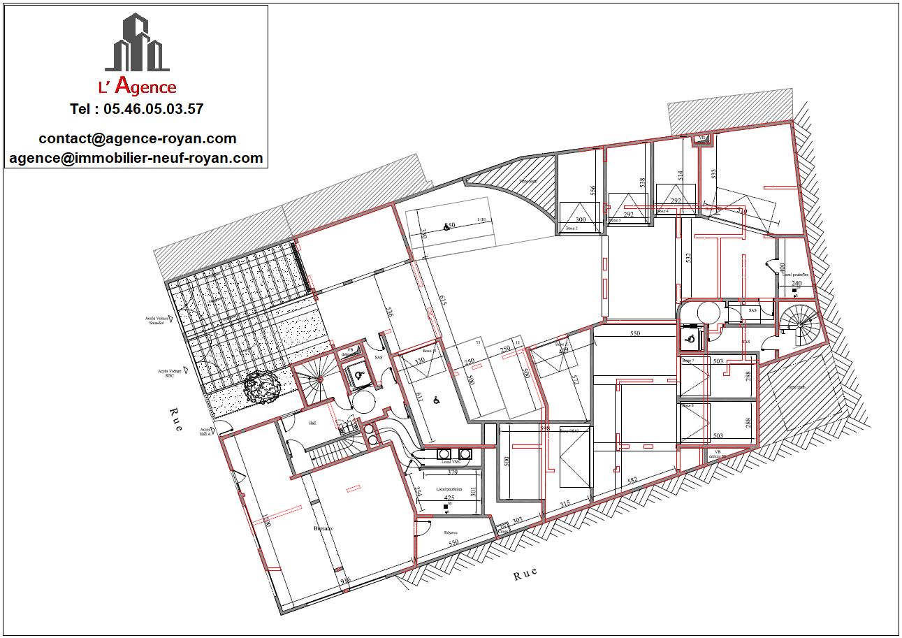 Plan vue de dessus - partie 1 en Rés de chaussée et partie 2 du sous sol