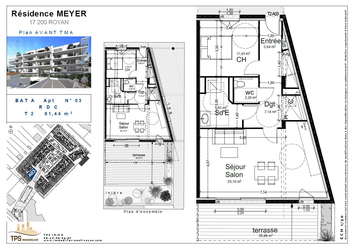 2 pièces 61 m² avec terrasse 35 m²