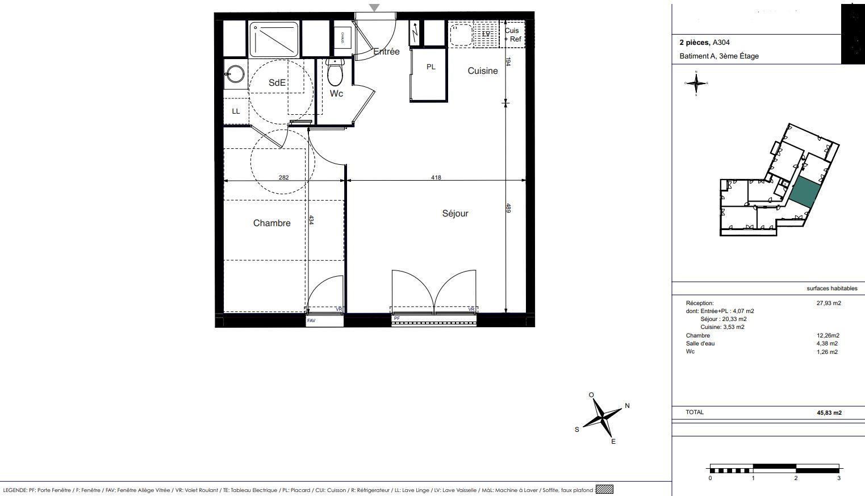 Appartement Neuf La Rochelle, plan d'un 2 pièces