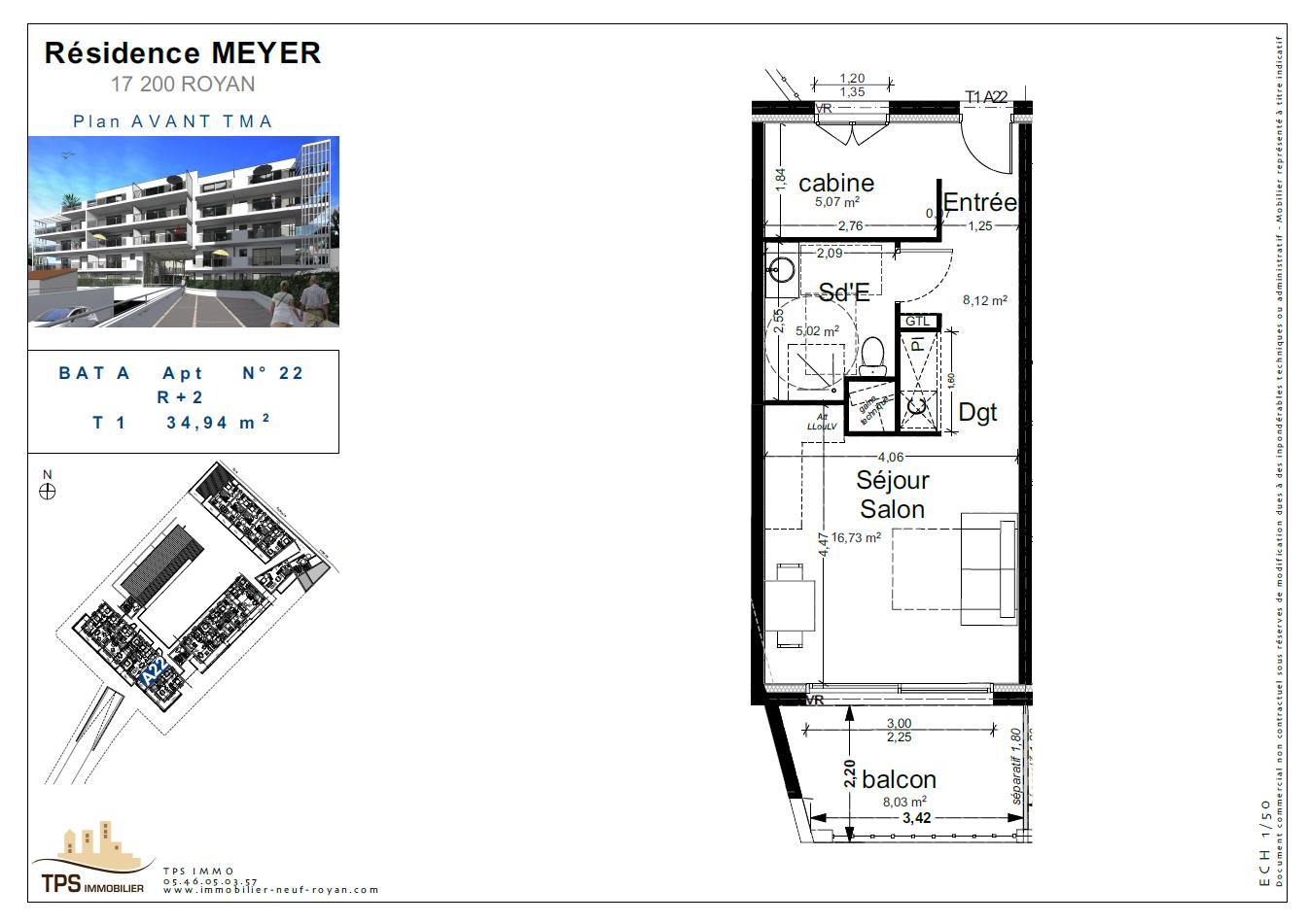 Studio 35 m² avec balcon de 8 m²