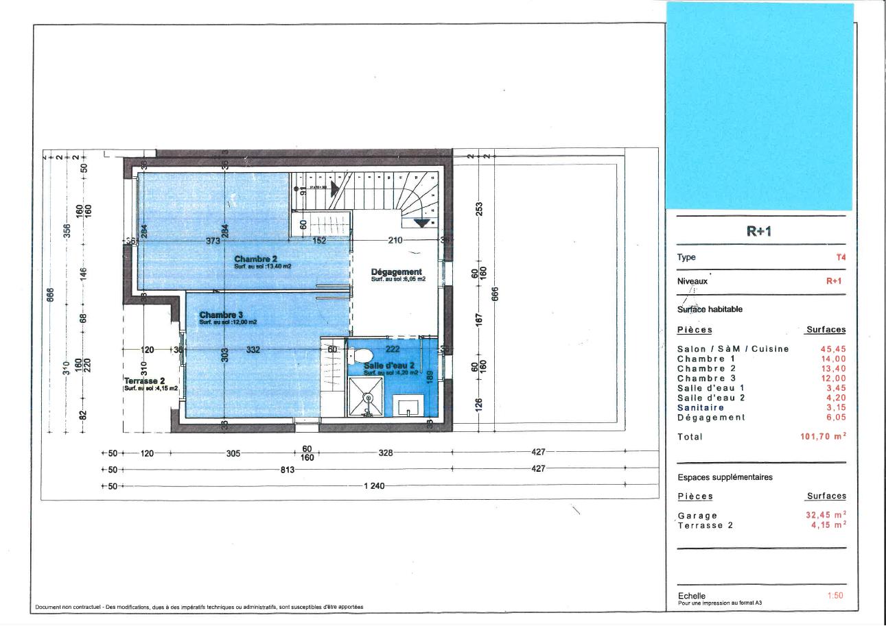 Plan d'étage d'une maison neuve à Royan
