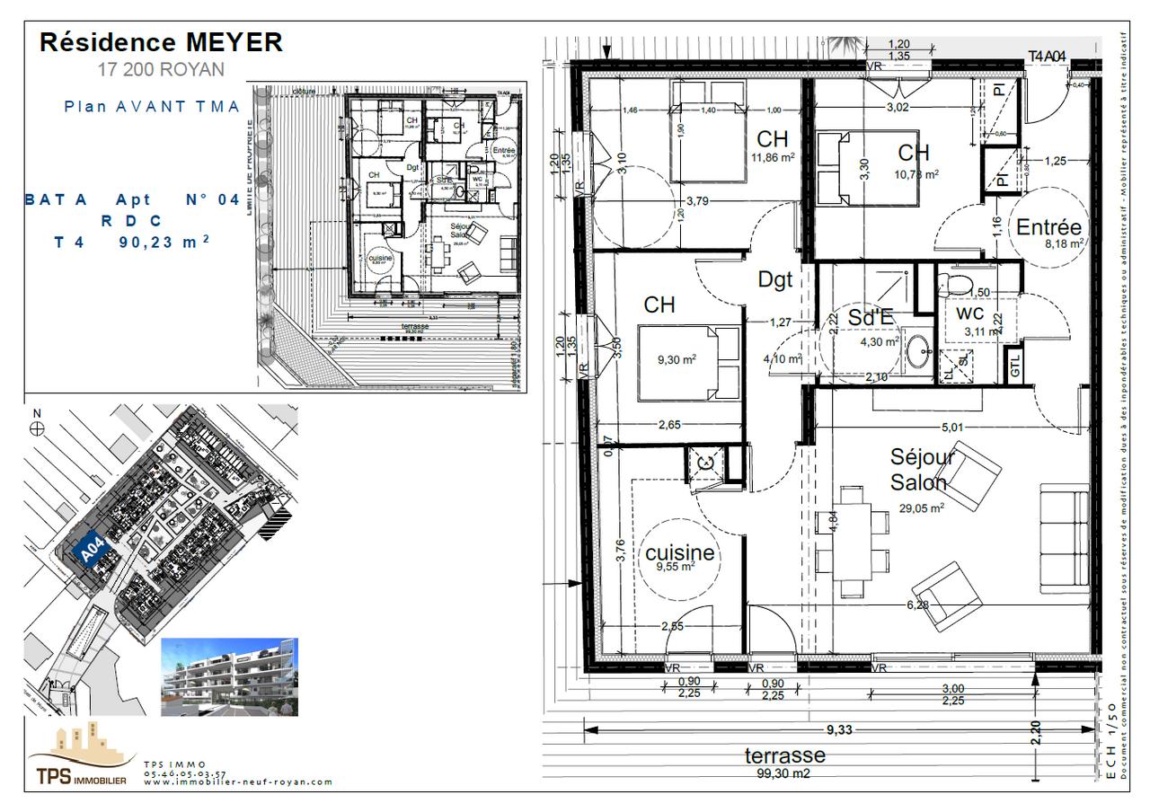 4 pièces 90 m² avec terrasse 99 m²