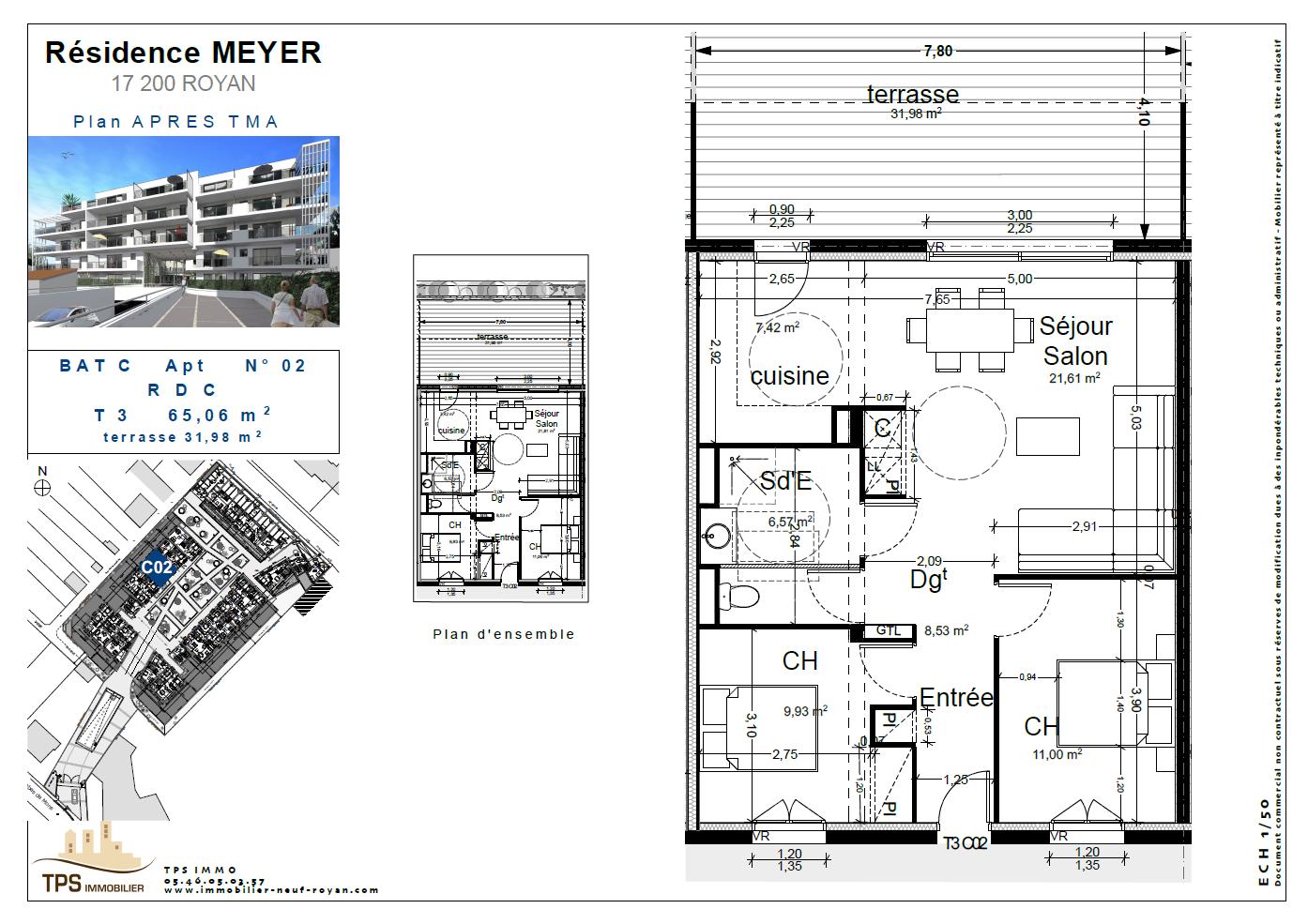 3 pièces 65 m² avec terrasse 32 m²